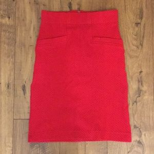 Anthropologie Red Textured Skirt